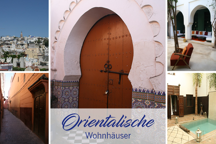 Orientalische Wohnhäuser, arabische Türen, Innenhöfe