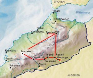 Karte Marokko Reiseverlauf