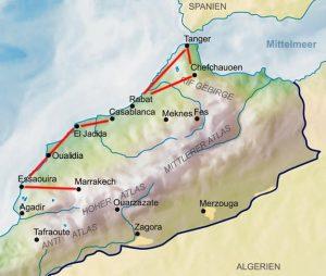 Reiseroute Karte 'Küsten Marokkos & Marrakesch'