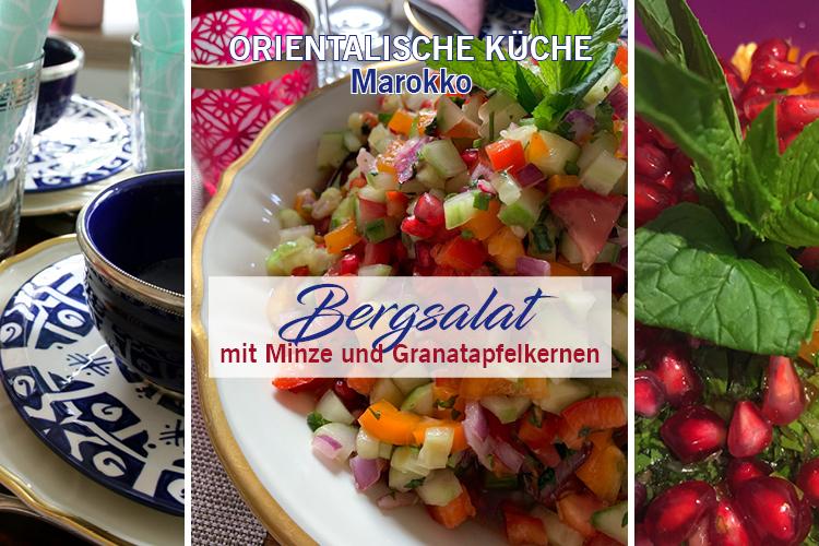 Marokkanische Küche - Salat mit Minze und Granatapfelkernen