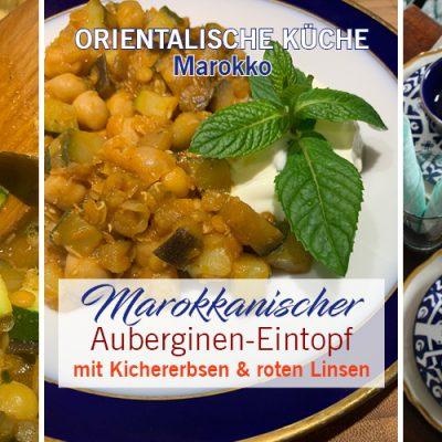 Marokkanischer Auberginen-Eintopf mit Kichererbsen und roten Linsen
