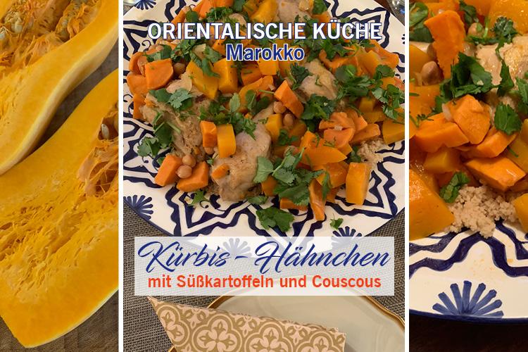 Marokkanisches Gericht - Kürbis-Hähnchen mit Süßkartoffeln und Couscous